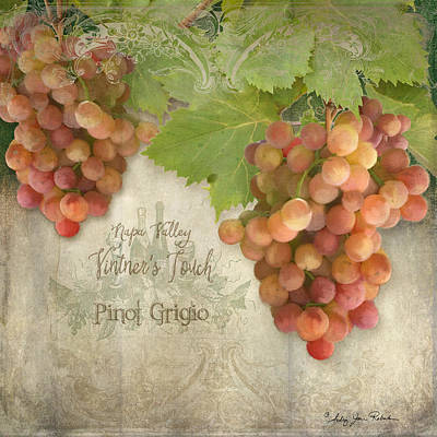 Vintage Wine Lovers Painting - Vineyard - Napa Valley Vintner's Touch Pinot Grigio Grapes  by Audrey Jeanne Roberts