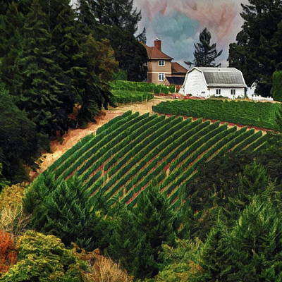 Digital Art - Vineyard On A Hill by Richard Hinds