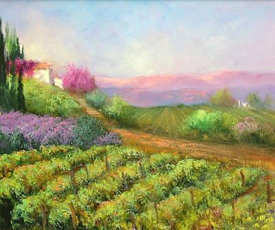 Vineyard Spring Art Print by Sally Seago
