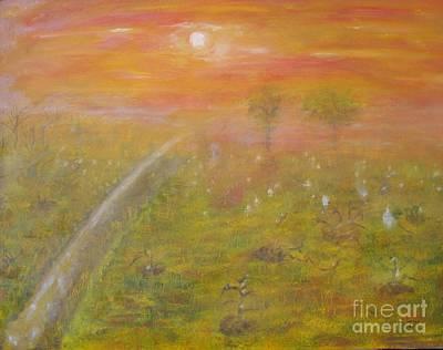 Vineyard Art Painting - Vineyard Sunset by Anthony Morretta