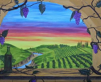 Tuscan Sunset Painting - Vineyard Sunset by Carol Frances Arthur