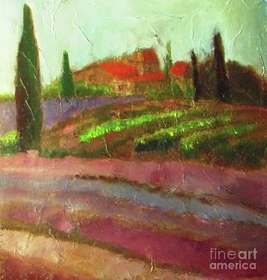 Tuscany Vineyard Oil Painting - Tuscany Vineyard by Vesna Antic
