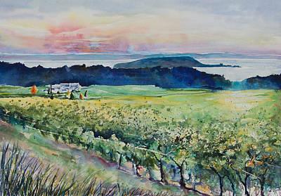 Wine Country Watercolor Painting - Vineyard View  by Adam VanHouten