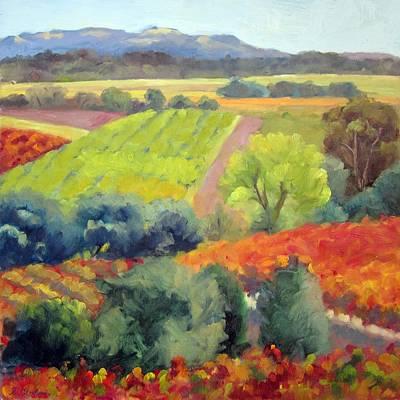 Vineyards At Peak Art Print by Deborah Cushman