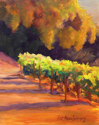 Grapeleaves Painting - Vineyard At Dawn by Pat Meier-Johnson