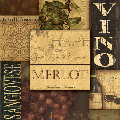 Vino Collage Art Print by Grace Pullen
