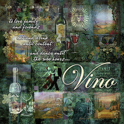 Wine Bottles Digital Art - Vino by Evie Cook