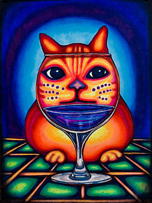 Drawing - Vino Kats by Laurie Tietjen