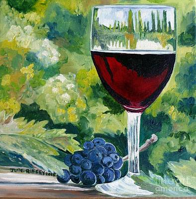 Glass Table Reflection Painting - Vino Rosso - Red Wine by Julie Brugh Riffey