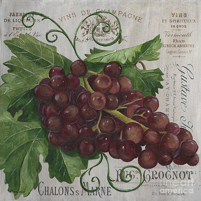 Grape Leaf Painting - Vins De Champagne by Debbie DeWitt