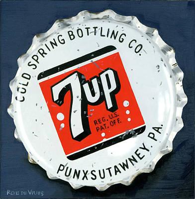 Vintag Bottle Cap, 7up Art Print by Rob De Vries