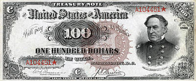 1890 Photograph - Vintage $100 Bill Circa 1890 by Jon Neidert