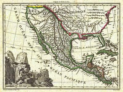 Motel Art Photograph - Vintage 1810 Map Of Mexico Texas And California by Stephen Stookey