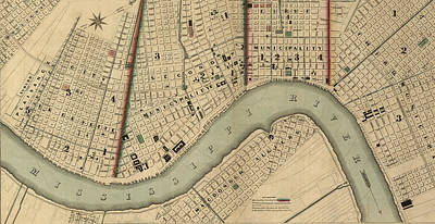 Digital Art - Vintage 1840s Map Of New Orleans by Keith Dotson