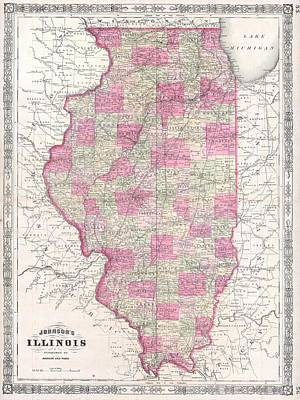 Mixed Media - Vintage 1864 Illinois Map by Dan Sproul