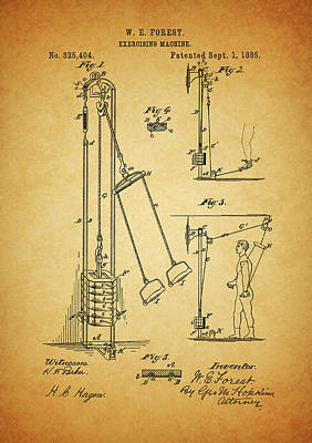 Muscle Mixed Media - Vintage 1885 Exercising Device Patent by Dan Sproul