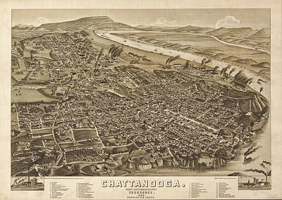 Vintage 1886 Chattanooga Map Art Print by Stephen Stookey