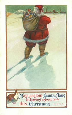 Photograph - Vintage 1906 Santa Postcard by Dale Powell