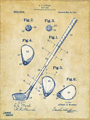 Exercise Digital Art - Vintage 1910 Golf Club Patent Artwork by Nikki Marie Smith