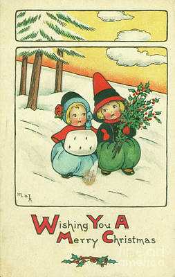 Photograph - Vintage 1916 Merry Christmas Postcard by Dale Powell
