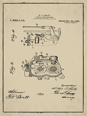 Vintage Photograph - Vintage 1920 Harley Davidson Engine Patent 3 In Sepia by Bill Cannon