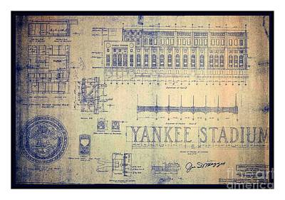 Babe Ruth Drawing - Vintage 1920s Art Deco Yankee Stadium Blueprint Autographed By Joe Dimaggio by Peter Gumaer Ogden