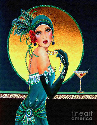 Painting - Vintage 1920s Fashion Girl  by Ian Gledhill