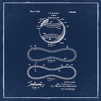 Vintage 1928 Baseball Patent Blue Art Print by Bill Cannon
