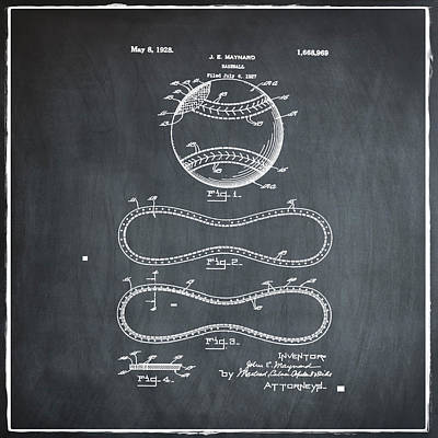 Yankees Photograph - Vintage 1928 Baseball Patent Chalk by Bill Cannon