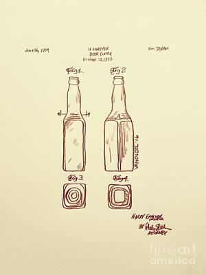 Realist Digital Art - Vintage 1933 Beer Bottle Patent - Aged by Scott D Van Osdol