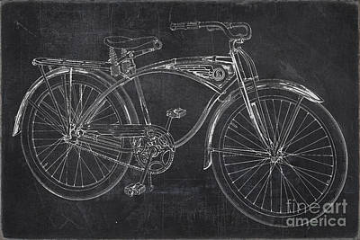 Transportation Digital Art - Vintage 1939 Schwinn Bicycle Chalkboard by Edward Fielding