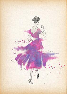 Vintage 1950s Dress Pattern Petite Bust  Art Print by Diana Van