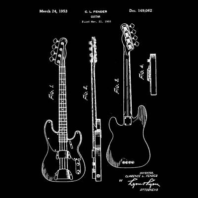 Guitar Photograph - Vintage 1953 Fender Base Patent by Bill Cannon