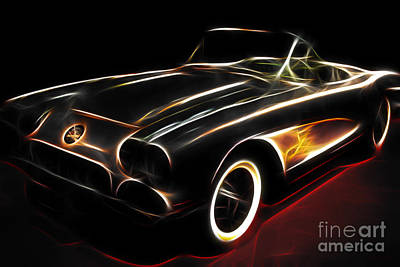 Domestic Car Digital Art - Vintage 1956 Corvette by Wingsdomain Art and Photography