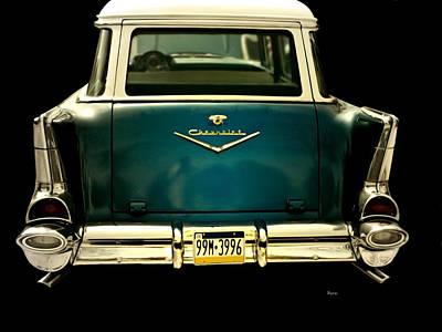 Station Wagon Digital Art - Vintage 1957 Chevy Station Wagon by Steven Digman