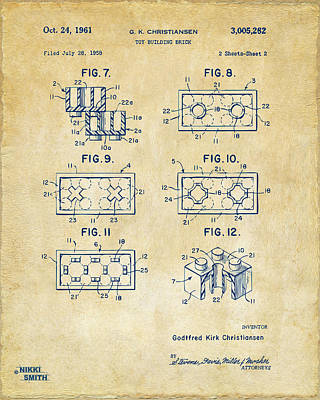 Lego Drawing - Vintage 1961 Lego Brick Patent Art by Nikki Marie Smith