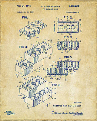 Lego Drawing - Vintage 1961 Toy Building Brick Patent Art by Nikki Marie Smith