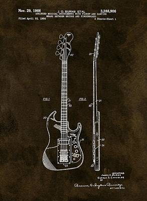 Music Drawings - Vintage 1966 Bass Guitar Patent by Dan Sproul