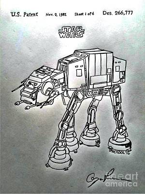 Vintage 1982 Patent At-at Star Wars - Silver Original