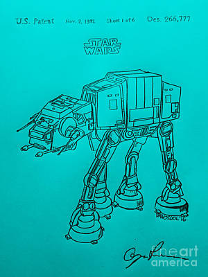 Vintage 1982 Patent Atat Star Wars - Blue Background Original