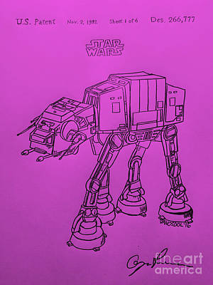 Vintage 1982 Patent Atat Star Wars - Purple Background Original