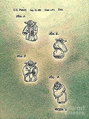 Vintage 1982 Star Wars Yoda Patent - Abstract Art Print by Scott D Van Osdol