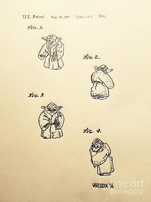 Vintage 1982 Star Wars Yoda Patent - Aged Art Print by Scott D Van Osdol