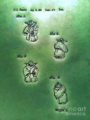Action Lines Digital Art - Vintage 1982 Star Wars Yoda Patent - Green Abstract by Scott D Van Osdol