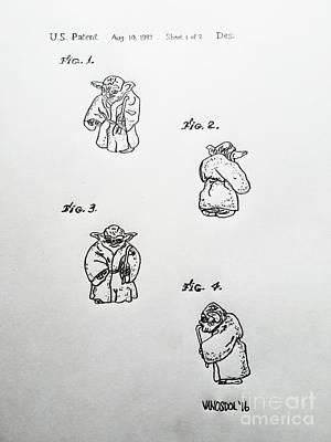 Vintage 1982 Star Wars Yoda Patent - Original Art Print by Scott D Van Osdol