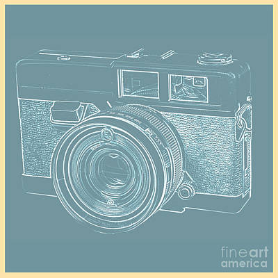 35mm Photograph - Vintage 35mm Film Camera Blue Pop Art by Edward Fielding
