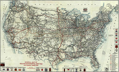 Yellowstone Drawing - Vintage Aaa Map Of Us Transcontinental Routes - 1918 by Aaa