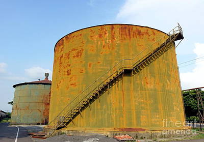 Photograph - Vintage Abandoned Storage Tanks by Yali Shi