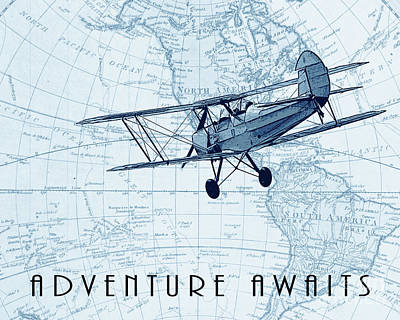 Inspirational Drawing - Vintage Adventure - Blue by Delphimages Photo Creations