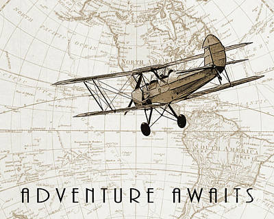 Airplane Drawing - Vintage Adventure by Delphimages Photo Creations